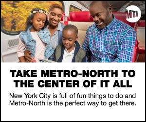 Photo of mother and child riding Metro-North