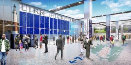 Rendering of LIRR ticketing window at Moynihan Train Hall